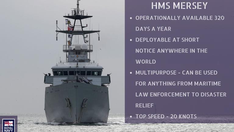 Le HMS Mersey a quitté le port de Portsmouth (sud de l'Angleterre) jeudi pour se placer aux larges des côtes française. Crédit : Royal Navy