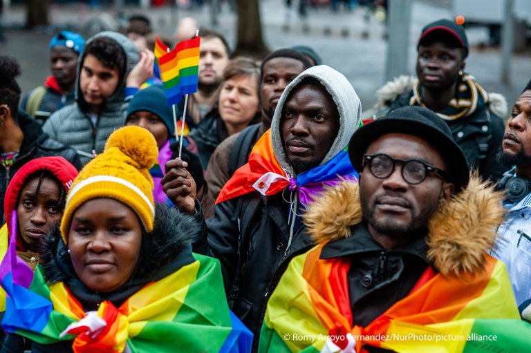 "A group of asylum seekers listening to speeches during the demonstration ""Not gay enough"", in The Hague, 26 November, 2019 