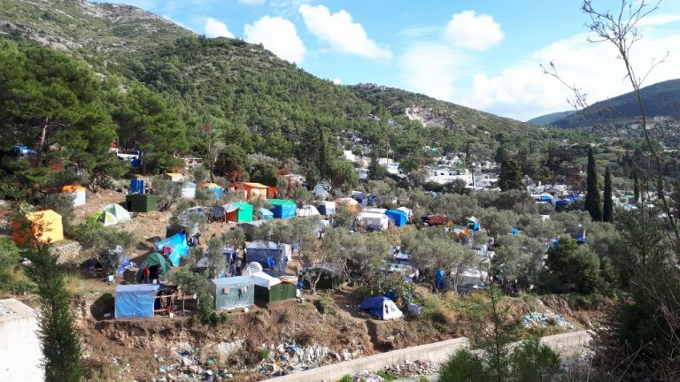 Overcrowded conditions on Samos have led to protests and fires | Photo: Rémi Carlier / InfoMigrants