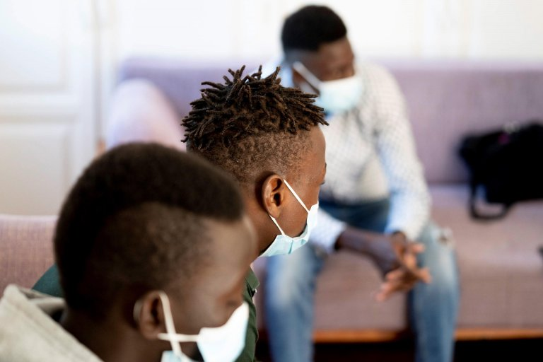 Unaccompanied minor migrants from Mali look on during an interview at the center managed by Coliseo Association in Tenerife, Canary Islands, Spain, 16 February 2021   Photo: EPA/Miguel Barreto