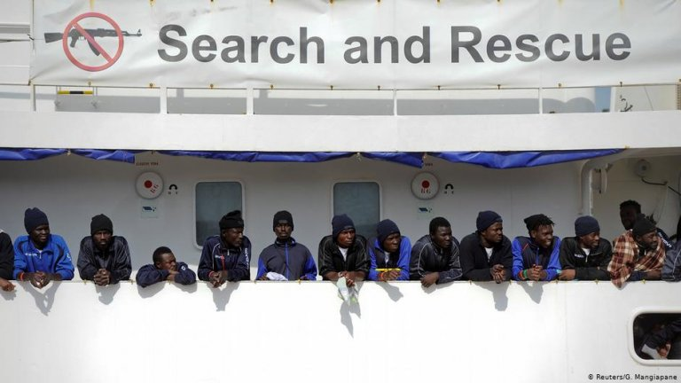 Migrants on the 'Aquarius' rescue ship in the Catania harbor