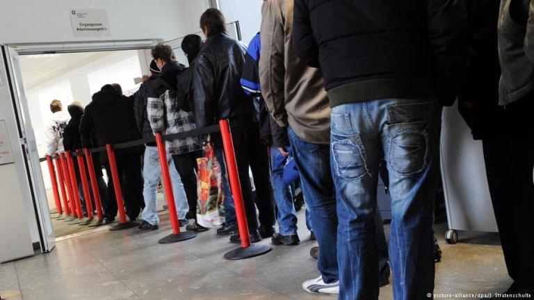 Des réfugiés dans une agence pour l'emploi en Allemagne. Crédit : Picture Alliance