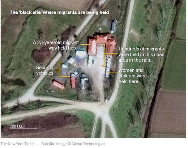 Une capture d'écran de l'article du New York Times montre une image satellite du site où les autorités grecques détiendraient des migrants, selon le journal. Crédit : Capture d'écran New York Times