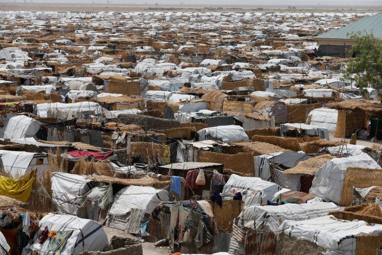 Dans le camp de déplacés de Gamboru/Ngala, à Borno, dans le nord-est du Nigeria, le 27 avril 2017. Crédit : Reuters