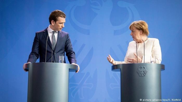 Austrian chancellor Sebastian Kurz and German chancellor Angela Merkel
