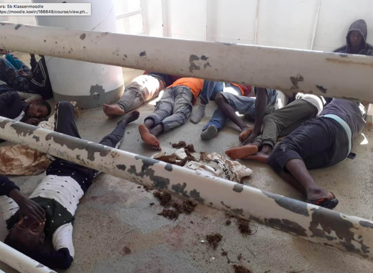 Over 50 people are stranded onboard the Talia amid cattle excrement and suffering from dehydration and exposure | Source: Screenshot, Alarm Phone