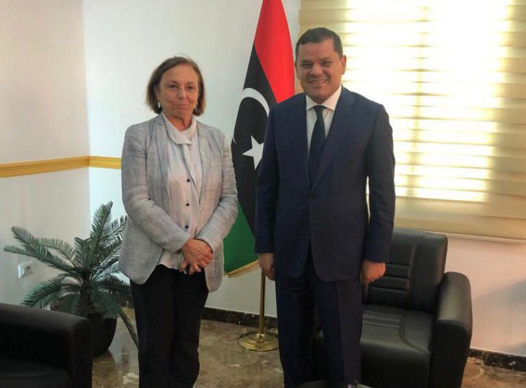 Meeting between the Italian interior minister Luciana Lamorgese with Libyan national unity government prime minister Abdulhamid Dabaiba, Tripoli, August 4, 2021 | Photo: ANSA/Twitter feed from Italian Interior Ministry @Viminale