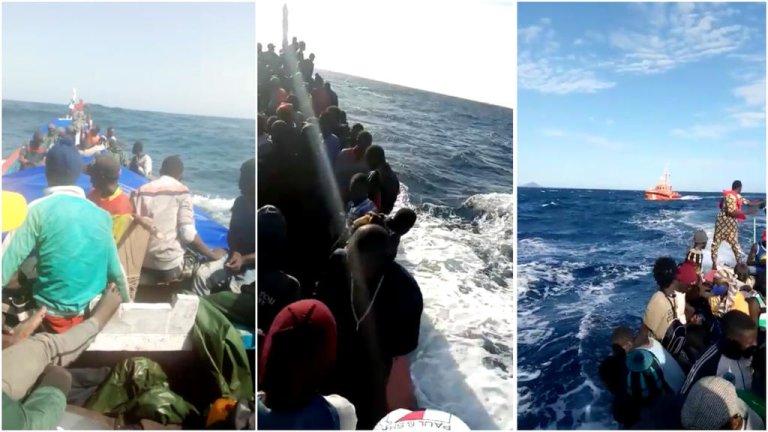 Plusieurs images partagées sur des groupes WhatsApp au Sénégal ces derniers mois montrent de nombreux jeunes quitter le pays en pirogues pour se rendre aux îles Canaries. Captures d'écran / images reçues par la rédaction des Observateurs de France 24.
