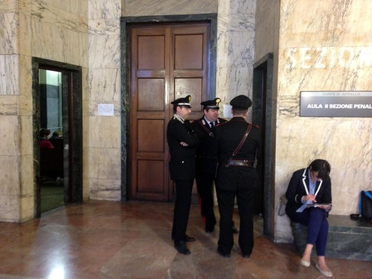 The waiting area in the Milan criminal court   Photo: ANSA/Stefano Porta