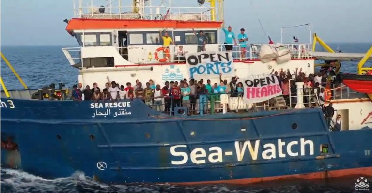"Last June, the Sea-Watch was blocked at sea with 42 people aboard due to the ""closed ports"" policy of former Italian interior minister Matteo Salvini 