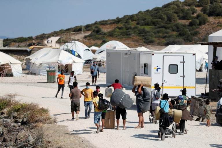 """A temporary tent facility on Lesbos is to be replaced by """"durable"""" structures, under a new plan by the European Commission 