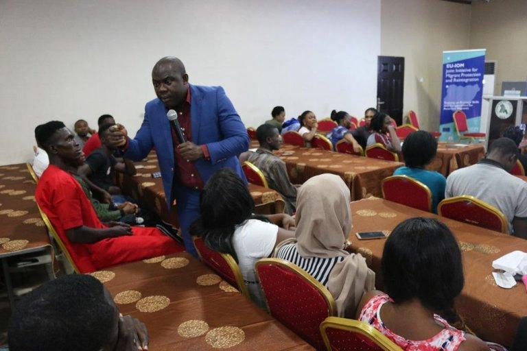 ANSA / مهاجرون نيجيريون عائدون من ليبيا إلى بلادهم يشاركون في دورات تدريبية تقيمها منظمة الهجرة الدولية / مصدر الصورة: منظمة الهجرة الدولية.