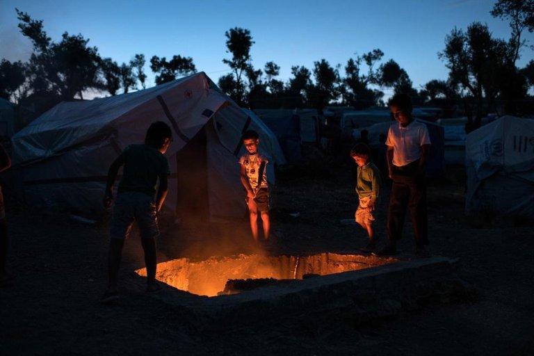 ansa/أطفال في مخيم اللاجئين في موريا. المصدر: أطباء بلا حدود
