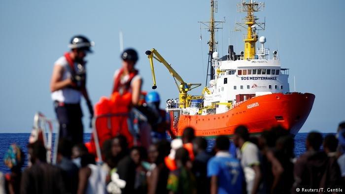 The Aquarius vessel in the Mediterranean Sea