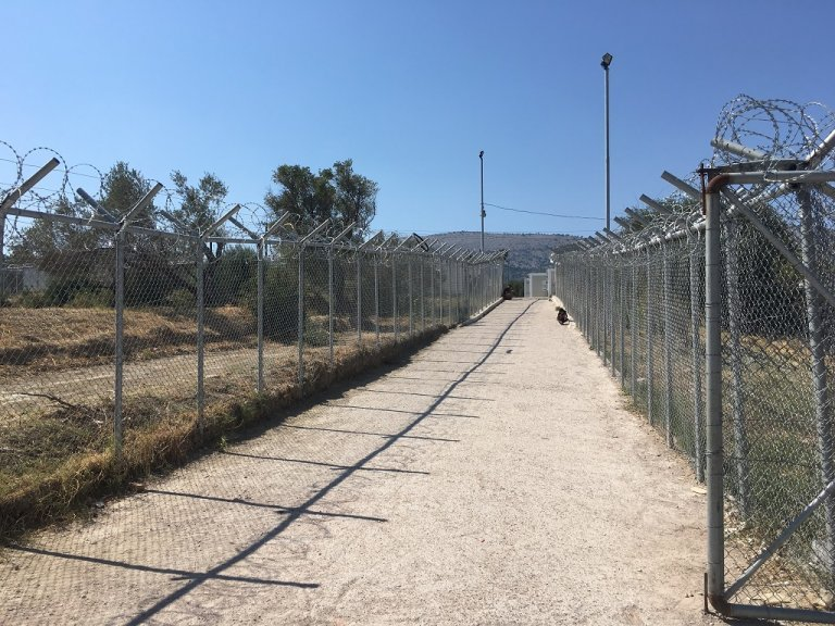 One of the barbed-wire entrance to the Vial camp.Credit: Charlotte Boitiaux