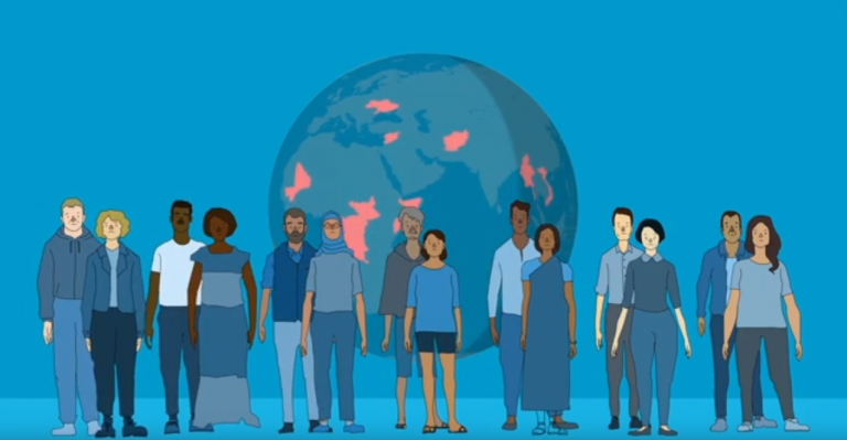 A screenshot from the UNHCR accompanying video for schools teaching children about refugees   Source: Screenshot UNHCR video