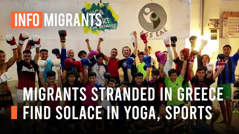 Migrants and refugees take up sporting activities to ease the boredom of waiting for their asylum cases to be decided   Source: Screenshot InfoMigrants video