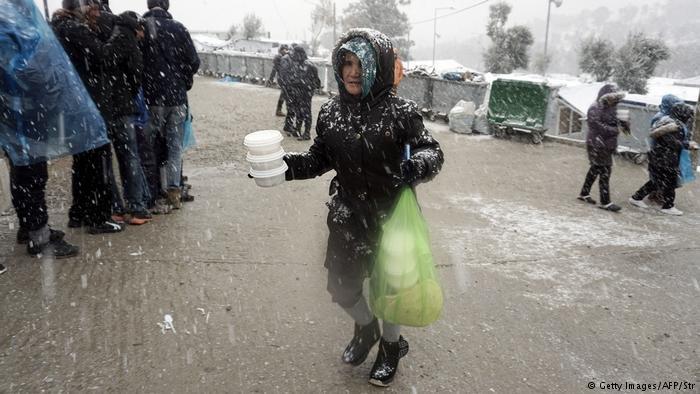 مهاجران در جزیره لسبوس یونان در جریان زمستان