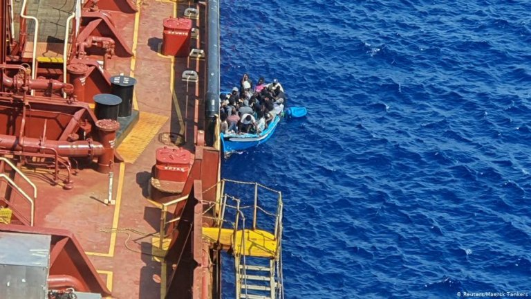 A picture of the migrants rescued by the Maersk tanker Etienne in the Mediterranean in August 2020 | Photo: Reuters / Maersk Tankers