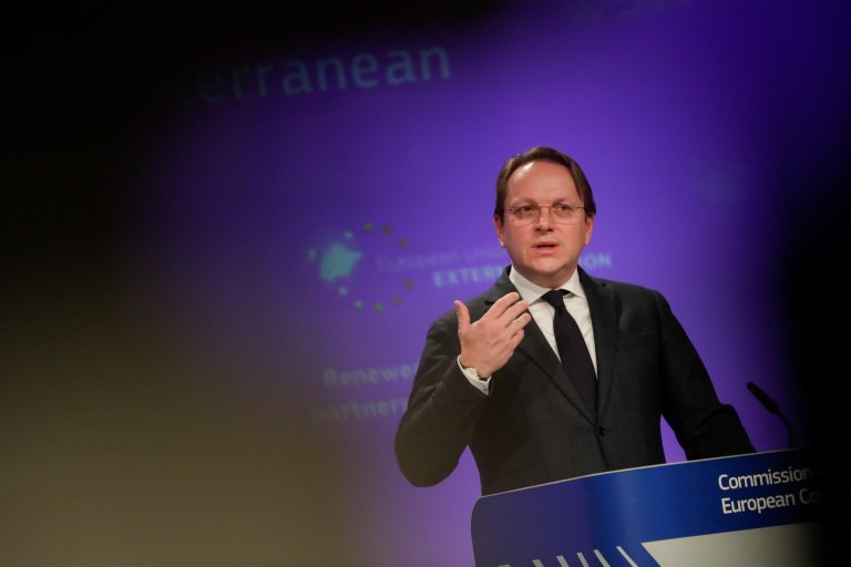 European Commissioner for Neighbourhood and Enlargement Oliver Varhelyi gives a press conference on February 9, 2021   Photo: EPA/Stephanie Lecocq