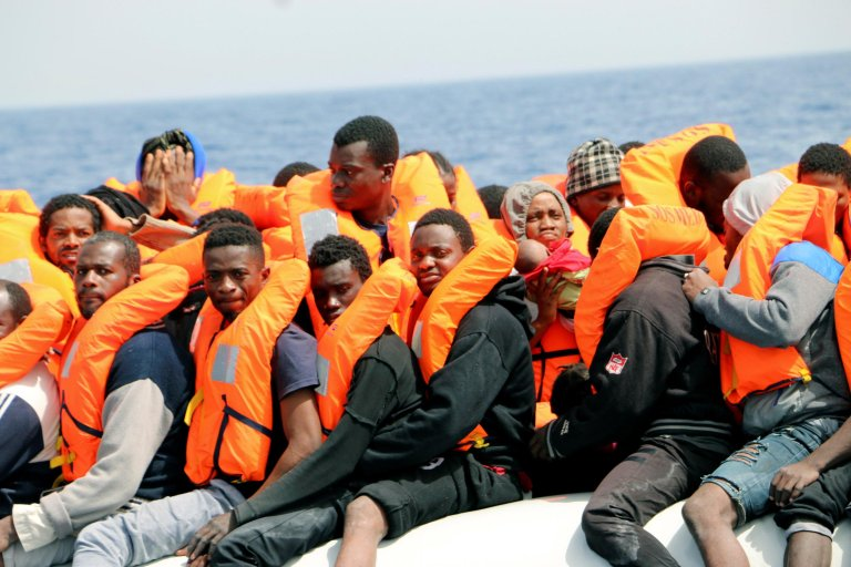 Migrants aboard a rubber dinghy in a recent rescue operation off the Libyan coast. Credit: EPA | Javier Martin
