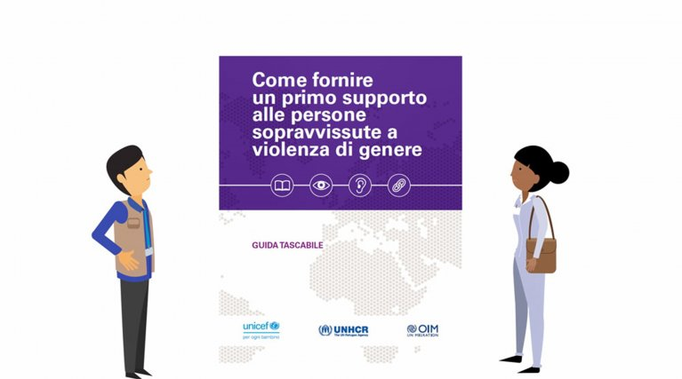 The cover of the UNICEF-IOM-UNHCR guide for Italian workers helping migrant and refugee victims of gender violence | Credit: UNICEF website