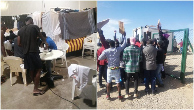 Un centre de quarantaine sur l'île de Fuerteventura dans l'archipel espagnol des Canaries; une manifestation devant le campement d'El Matorral, également sur l'île de Fuerteventura. Crédit : DR