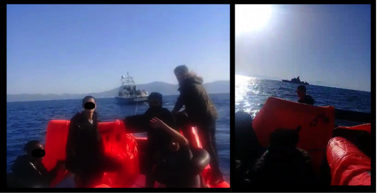 Screenshots from a video seen by the Legal Centre Lesvos for a report about allegations of push-backs of migrants by Greek authorities in the Aegean | Source: Legal Centre Lesvos report July 2020