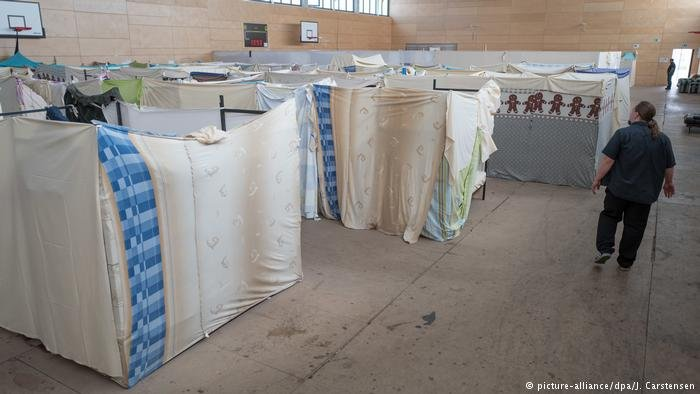 A refugee reception center in Berlin