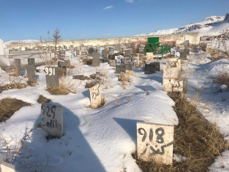 Some gravestones are marked only with numbers | Photo: Mahdi Heydari, Afghan migrant in Van Province, Turkey, January 2020