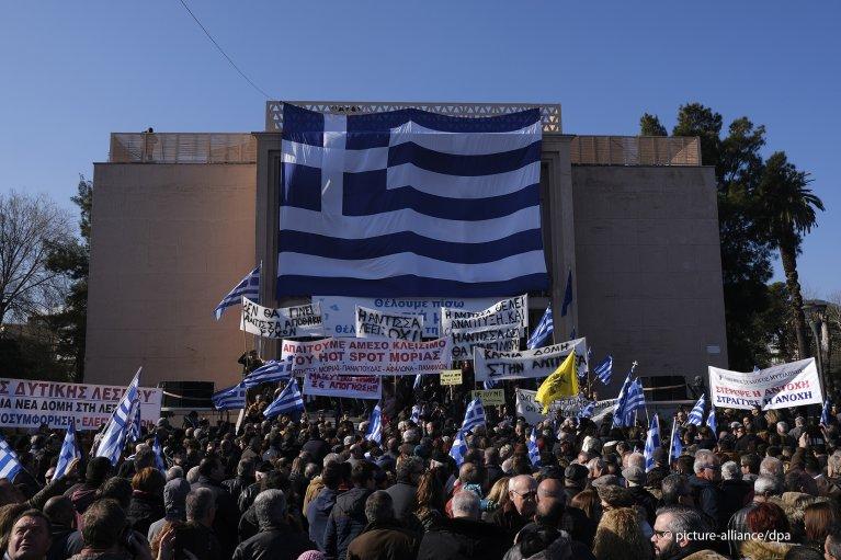 إضراب عام واحتجاج ضد مخيمات اللاجئين في الجزر اليونانية