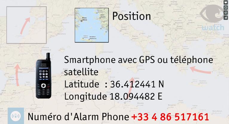 Alarm Phone alerte les autorités afin de déclencher des opérations de sauvetage. Capture d'écran