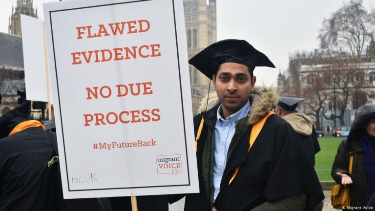 A student protests against the Home Office's measures in London | Photo: Migrant Voice