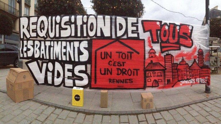 En accord avec les promoteurs concernés, des bâtiments voués à être détruits sont temporairement occupés par des migrants sans-abri à Rennes. La mairie finance chauffage et électricité. Crédit : UTUD/Facebook