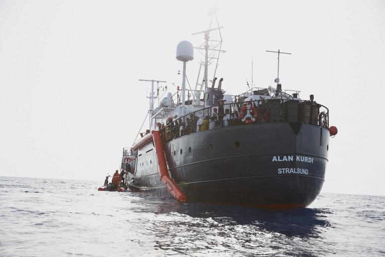 A handout photo made available by German civil sea rescue organisation sea-eye shows the Alan Kurdi vessel, off the Libyan coast, 5 July 2019 | Photo: Fabian Heinz / EPA/ Sea-Eye