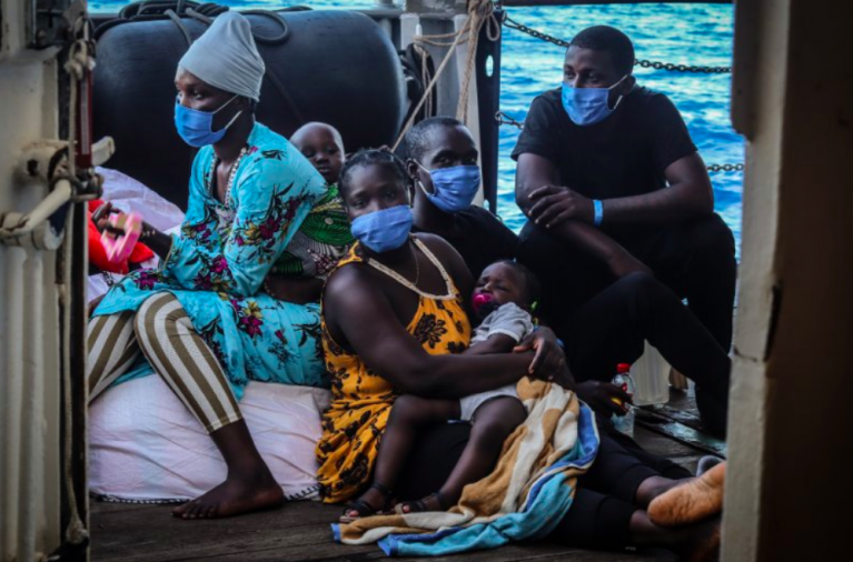 Migrants on board the Sea Watch 4 stranded off the Sicily coast, August 2020 | Credit: Screenshot Twitter/MSF