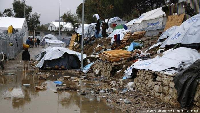 The Moria refugee camp on the Greek island of Lesbos