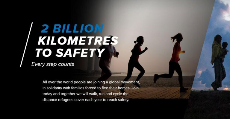 The UNHCR wants people to travel 2 billion kilometers - the distance covered by people fleeing war and persecution every year   Credit: UNHCR/ANSA