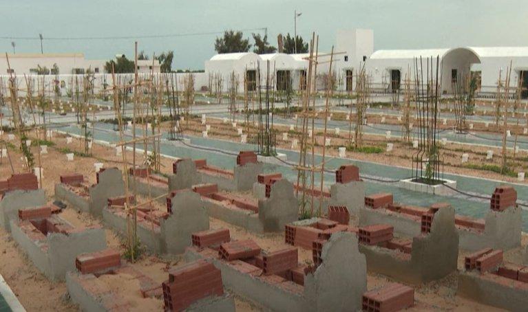 """Le cimetière pour migrants """"Jardin d'Afrique"""" à Zarzis, en Tunisie, en juin 2021. Crédit : capture d'écran YouTube"""
