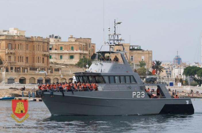 سفينة تابعة للبحرية المالطية. المصدر:  صحيفة مالطا اليوم