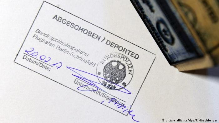 Deported in Germany: Official stamp