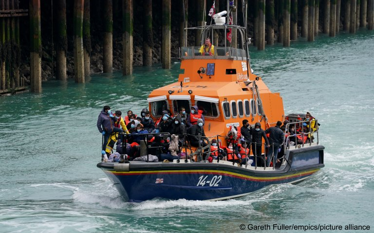 A group of people thought to be migrants are brought  to Dover, Kent, onboard a lifeboat following a small boat incident in the Channel earlier on Sunday, July 4 | Photo: Gareth Fuller/PA Wire