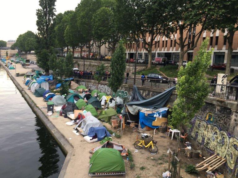 مخيم المهاجرين قناة سانت مرتان/ مهاجر نيوز