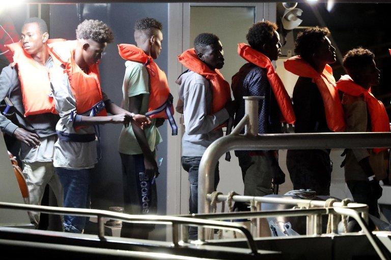Migrants disembark the P21 Armed Forces of Malta vessel at the Armed Forces of Malta maritime base at Hay Wharf, in Floriana, Malta, July 7, 2019 | Photo: EPA/DOMENIC AQUILINA