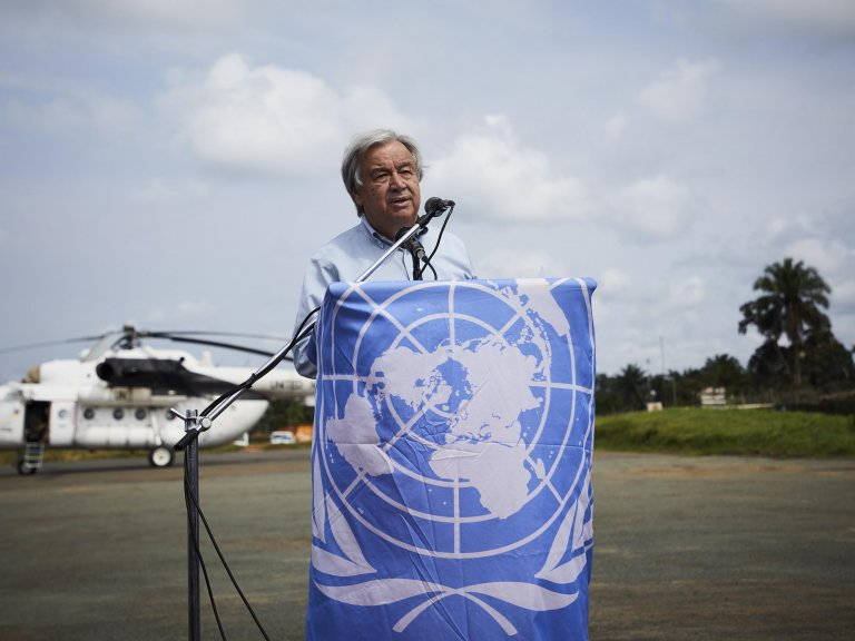 United Nations Secretary General Antonio Guterres delivers a speech as he arrives in Beni, North Kivu province, Democratic Republic of the Congo, September 1 September| Photo: EPA/Hugh Kinsella Cunningham