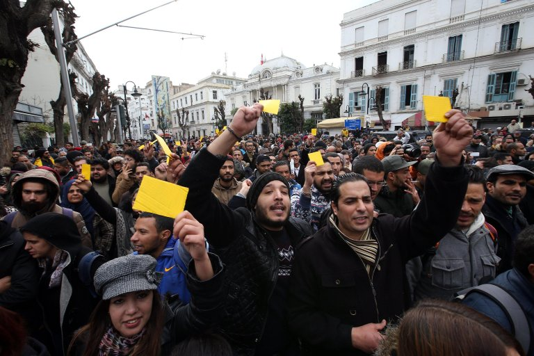 Tunisian protesters during a demonstration against tax hikes and austerity measures | Photo: ARCHIVE/EPA/MOHAMED MESSARA