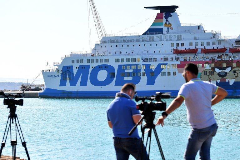The Moby Zaza ship, where migrants were quarantined | Photo: ANSA / Carmelo Imbesi