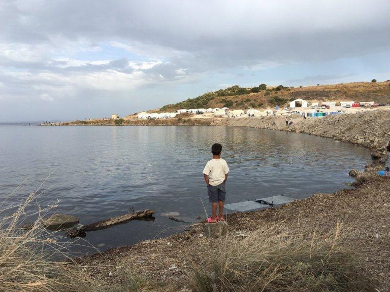 د لیسبوس جزیرې ټاپو چې پکې د کډوالو نوی کمپ جوړ شوی. سپتمبر ۲۰۲۰. انځور: مهاجر نیوز