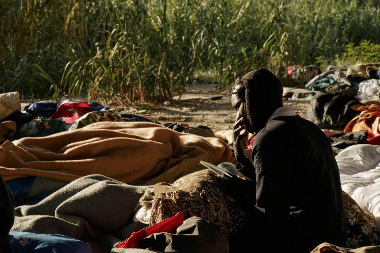 Sudanese migrant at a makeshift camp near the Roja River, in Ventimiglia. Credit: ANSA/ UFFICIO STAMPA OXFAM