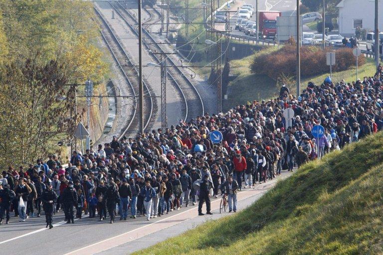 ANSA / ضباط الشرطة السلوفينية يصطحبون مهاجرين تجاه المعبر الحدودي بين بلادهم والنمسا في تشرين الأول/ أكتوبر 2015. المصدر: إي بي إيه/ جورجي فارجا.